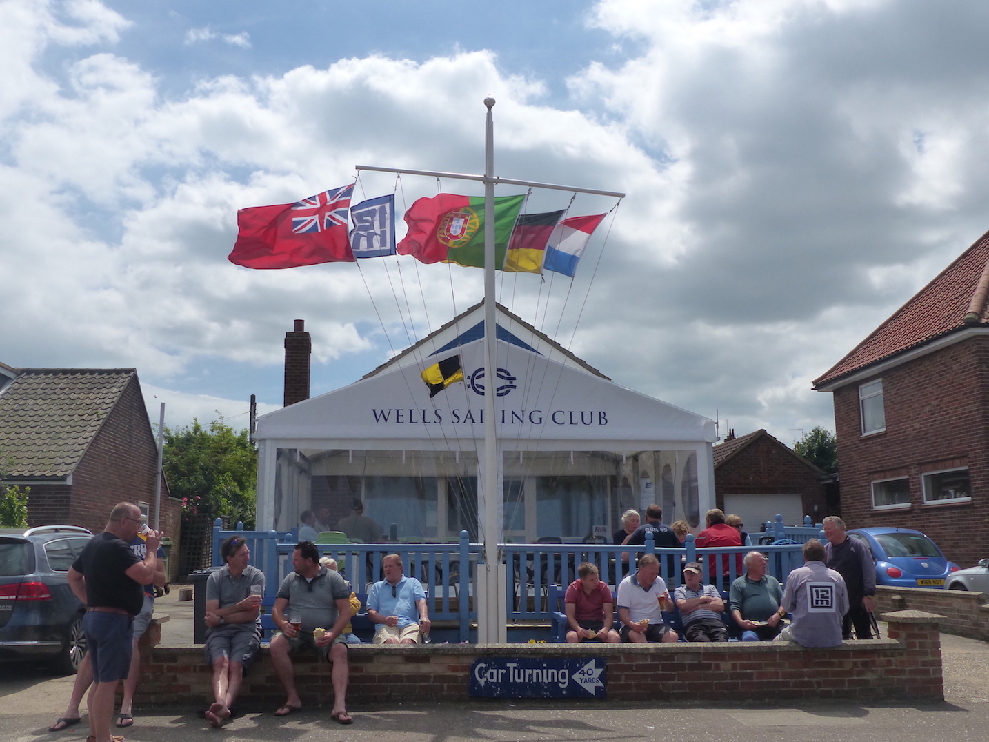 WSC clubhouse with flags flying